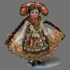 Tiny All Bisque Doll in Original Festive Polish Costume