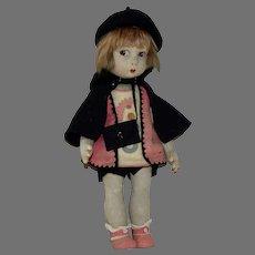 Lenci Type Vintage Doll with Felt Clothing