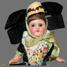 Petite German Painted Bisque Head Doll in Original Ethnic Costume