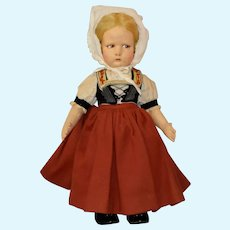 Felt Lenci Doll with Serious Side Glancing Expression and Original Costume