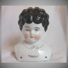 """""""Marion"""" Pet Name German Glazed Porcelain China Shoulder Head by Hertwig"""