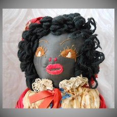 Folk Art Black Sateen Cotton Cloth Doll with Hand Embroidered Face