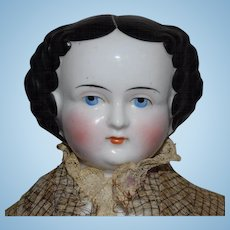 German Glazed Porcelain China Head Doll by Kister