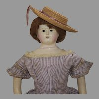 French Type Papier Mache Head Doll by Andreas Voit of Germany