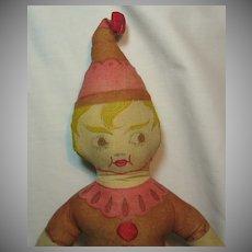 Early Printed Cloth Brownie Elf Rag Doll
