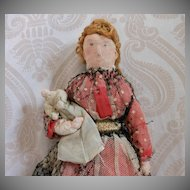 All Original Antique Cloth Doll with Baby