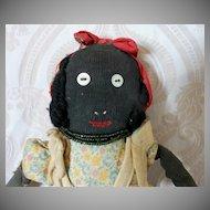Black Stockinette Primitive Folk Art Cloth Doll