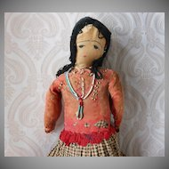 Vintage Native American Cloth Doll with Sad Expression