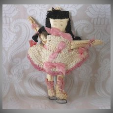 Vintage Folk Art Hand Made Oil Cloth Skater Doll