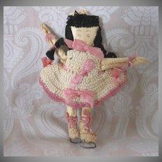 Vintage Folk Art Hand Made Oil Cloth Skater Doll