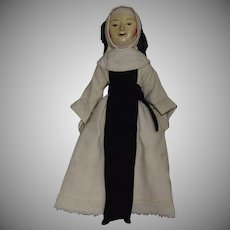 Old Pretenders Wooden OOAK William and Mary Period Doll Dressed as a Nun