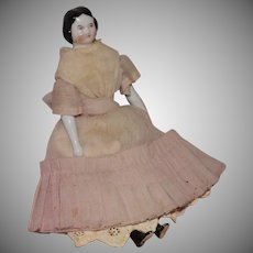 Small German China Head Doll with Covered Wagon Hairstyle