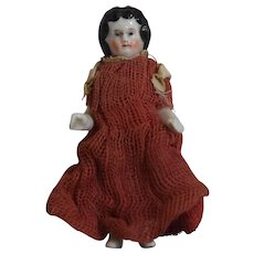 Antique German China Frozen Charlotte in Red Dress