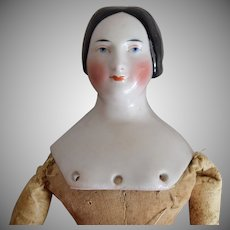 Antique German Kister Glazed Porcelain China Head Doll with Fancy Braided Bun
