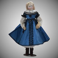 French Huret Fashion Doll with Bisque Swivel Neck Head and Wood Body