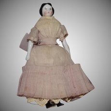 Petite Flat Top German China Head Doll in Pink Silk Dress