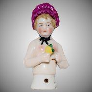 German China Half Doll with Pink Bonnet