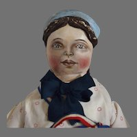 OOAK Cloth Artist Doll, with Molded Bonnet, by Rhonda King