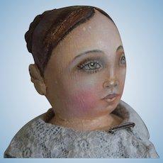 OOAK Cloth Artist Doll, with Braided Bun Hairstyle, by Rhonda King