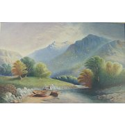 19th Century Continental School Landscape Watercolour Painting