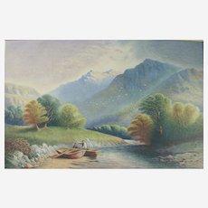 Antique 19th Century Continental School Landscape Watercolour Painting