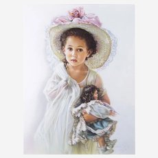 Sandra Kuck (American, Contemporary) Child with Doll Original Painting For Sale