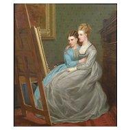 "William Crosby (British 1830-1910) Victorian; ""Fair Critics""; Oil on Canvas"