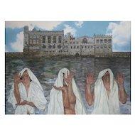 "Philip Harlequin Palmer (British b.1963); ""Alignment"" Oil on Canvas"