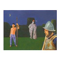 "Philip Harlequin Palmer (British b.1963) ""The Tutelage of Arthur"" Acrylic"