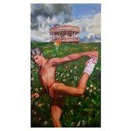"Philip Harlequin Palmer (British b.1963) ""The Acrobat"" Oil on Canvas"