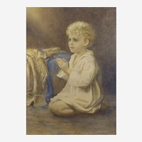 """Catherine B Gulley (British fl.1908-1928) """"Speak Lord"""": A portrait of a child praying. Watercolor"""