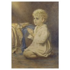 "Catherine B Gulley (British fl.1908-1928) ""Speak Lord"": A portrait of a child praying. Watercolor"