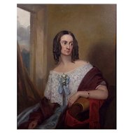 Antique 19th Century British School Portrait of a Lady Oil on Canvas