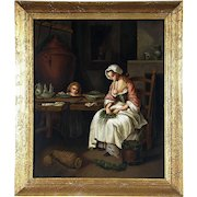Mid 19th Century Continental School The Kitchen Maid Antique Oil on Panel