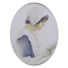 "Frances M. Needham (British fl.1911) Portrait Miniature of the Actress Miss Gertie Millar in ""A Quaker Girl"""