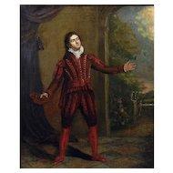 18th Century British Portrait of the Actor David Garrick (1717-1779) Antique Oil on Canvas