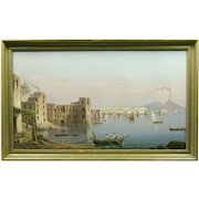 19th Century Italian School The Bay of Naples with Vesuvius in the Background