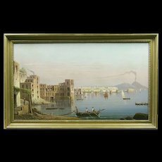 19th Century Italian School The Bay of Naples with Vesuvius in the Background