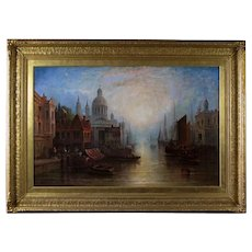 P Martin (19th Century Continental School) Venice Antique Oil on Canvas