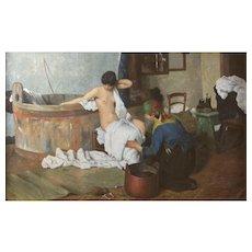 """After Giacomo Favretto (Italian 1849-1887) """"Dopo il bagno"""" Oil on Canvas"""