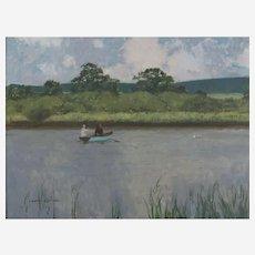 Norman Wilkinson CBE, PRI (British 1878-1971), Miming a  Cast, Fly Fishing, Oil on Canvas Board
