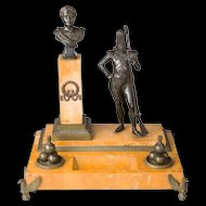 A Rare Napoleonic Bronze and Sienna Marble Inkstand French First Empire c.1805 Grenadier Imperial Guard