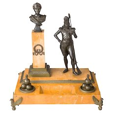 A Rare French 19th Century Napoleonic Bronze and Sienna Marble Inkstand Grenadier Imperial Guard