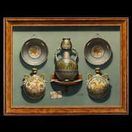 Christopher J. Harrison (British b.1935) Trompe L'Oeil: Maiolica Pottery Pilgrim Flasks and Bowls