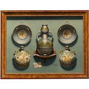 Christopher J. Harrison (British b.1935) Trompe L'Oeil: Maiolica Pottery Pilgrim Flasks and Bowls