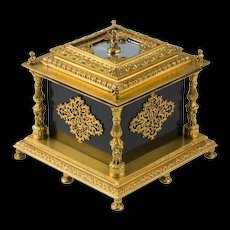 A Design Masterpiece - Late 19th Century French Gilt Bronze and Black Opaline Glass Table Casket