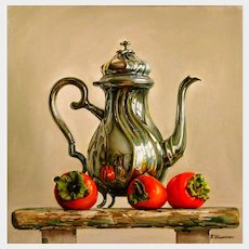Valeriy Shishkin (Russian b.1961) Still Life of Peppers and a Silver Teapot (2016) Oil on Canvas