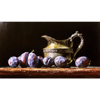 Valeriy Shishkin (Russian b.1961) Still Life of Plums and a Tarnished Silver Jug (2016) Oil on Canvas