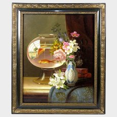 John Wainwright II (act. c.1860-c.1869) Still Life of Flowers Books and Blanket next to a Goldfish Bowl Antique Oil on Canvas