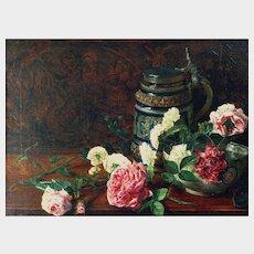 Fanny Harris (née Rosenberg) (British 1822-1872, fl. 1845-72) Still Life of Flowers Porcelain Bowl and Westerwald Tankard Antique Oil on Canvas